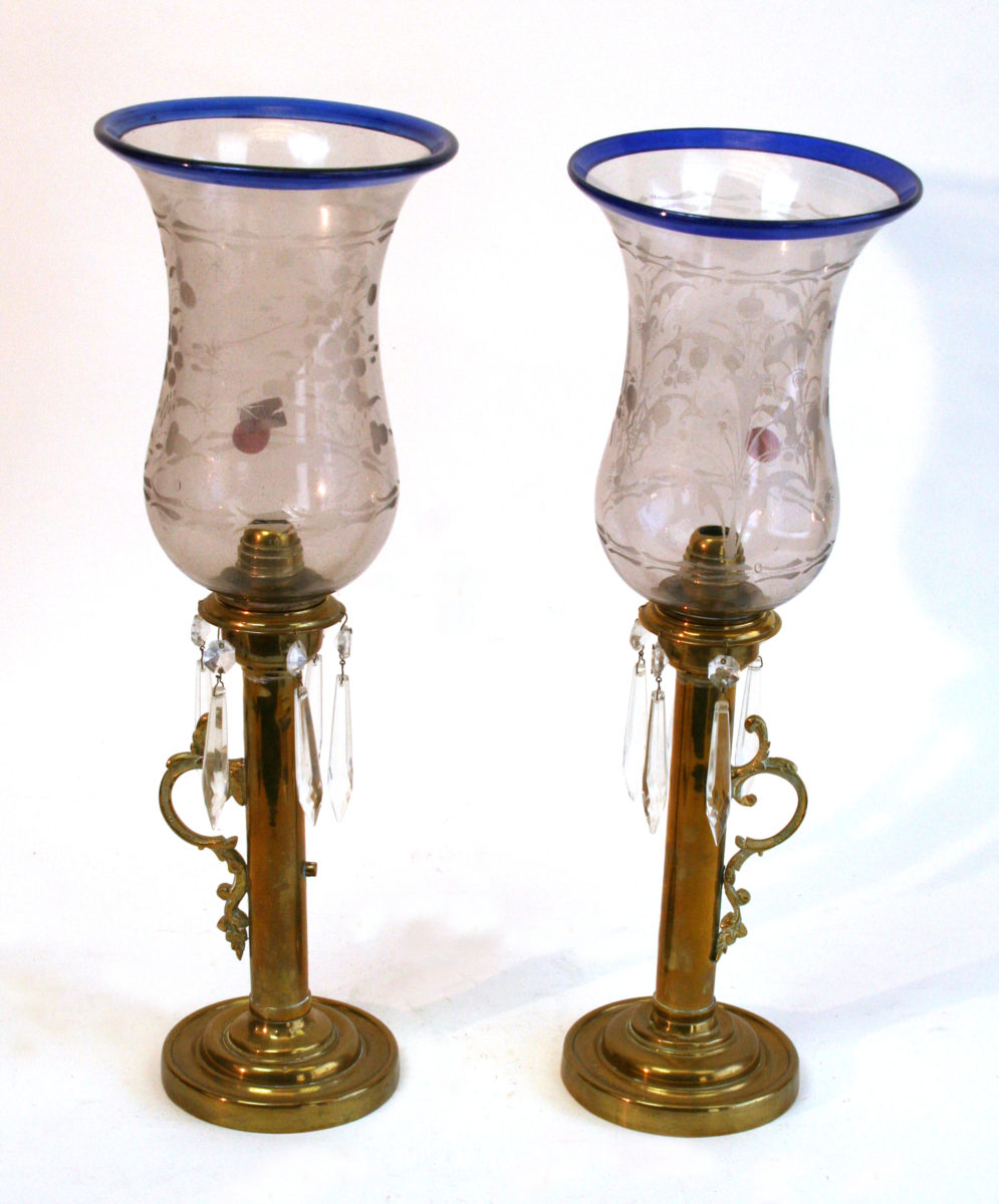 Pair Of Torchiere Table Lamps With Art Glass Top, Brass Base